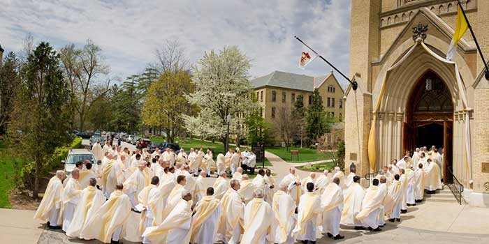 Concelebrants enter the Basilica of the Sacred Heart for the 2011 Ordination Mass.
