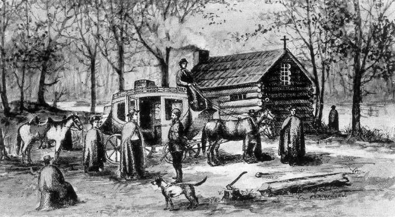<p><strong>On this Spot: </strong>This engraving shows the log chapel that stood on the site where Father Sorin founded Notre Dame in 1842.<br>